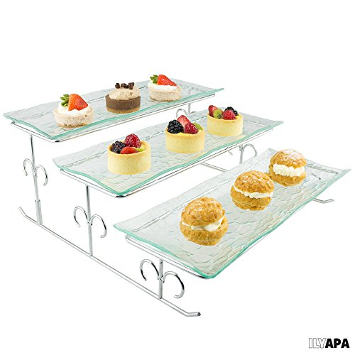 3 Tier Server - Tiered Serving Platter Stand & Trays - Perfect for Cake, Dessert, Shrimp, Appetizers & More (Cold Cake Display compare prices)