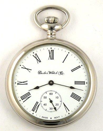 3636c398e Dueber Swiss Mechanical Pocket Watch High Polish Chrome Open Face Case  Assembled in USA