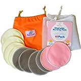 Washable Nursing Pads 10 Pack (Organic Bamboo) + Laundry Bag + Travel Bag + Thank You Bonus. Stop Leaking, Enjoy Breastfeeding With Softest Reusable Breast Pads by BabyVoice®