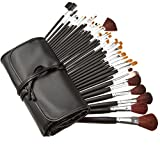 Crazy Genie Deluxe 34pcs Studio Pro Makeup Make Up Eye Shadow Blush Concealer Cosmetic Brush Set Kit w/ Leather Case