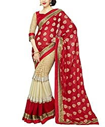 khanak export Women's Georgette Saree(KE_07_Multi-Coloured_Free Size)