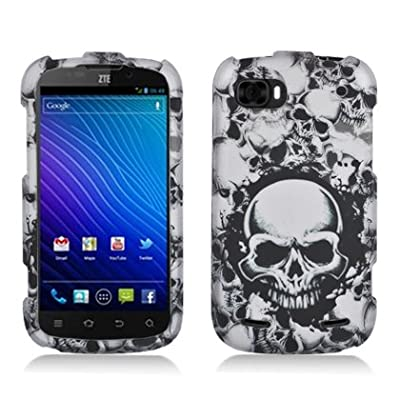 Aimo Wireless ZTEN861PCLMT237 Durable Rubberized Image Case for ZTE Warp Sequent N861 - Retail Packaging - White Skulls from Aimo Wireless