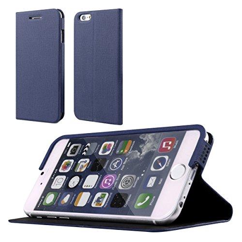 Dokpav® iPhone 6 Hülle,Schlank Flip PU Leder Hülle Hülle für Apple iPhone 6 - Marineblau