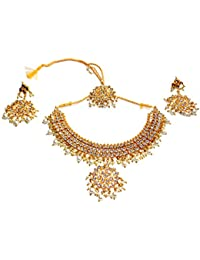 Jewels Kafe Kundan And Pearls Necklace Set With Maange Tika And Earrings Set