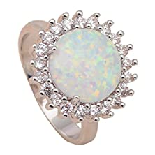 buy Neroy Big Round Created Opal Design High Quality White Fire Created Opal 925 Sterling Silver Zircon Fashion Jewelry Engagement Rings Usa Size 8 Or708A
