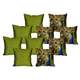 MeSleep 5 Pc Peacock Digital Cushion Cover And 5 Pc Green Quilted Cushion Cover