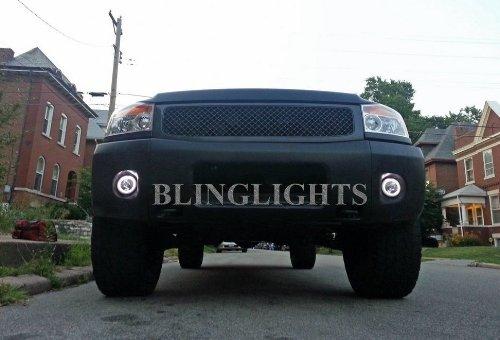 2008-2014 Nissan Titan White Halo Fog Lamps Xenon Halogen Driving Lamps Kit Pair