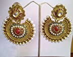 Earrings - Ethnic Kundan like Earrings with Pearls by ADIVA ABARI0BAE074