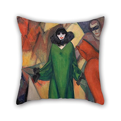 Oil Painting Albert Bloch - The Green Domino Cushion Cases 20 X 20 Inches / 50 By 50 Cm Best Choice For Outdoor,father,divan,birthday,husband,wedding With Double Sides