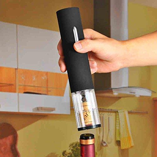Tomkity Tire Bouchon Ouvre Bouteille Electrique Ouvre Bouteille Vin Électrique avec Support de Coupe d'étanchéité Noir