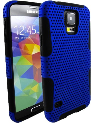 Mylife Ultra Blue And Dark Jet Black - Perforated Mesh Series (2 Layer Neo Hybrid) Slim Armor Case For The New Galaxy S5 (5G) Smartphone By Samsung (External Rubberized Hard Shell Mesh Piece + Internal Soft Silicone Flexible Gel)