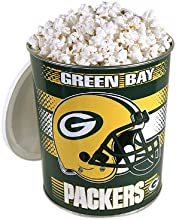 Popped Popcorn in Green Bay Packer Tin - 1 Gallon Gourmet Kettle Corn