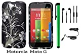 Motorola MOTO G (VERIZON BOOSTMOBILE) Premium Pretty Design Protector Hard Case Cover + Car Charger + 3.5MM Stereo Earphones + 1 of New Metal Stylus Touch Screen Pen (Black Silver Butterfly Flower)