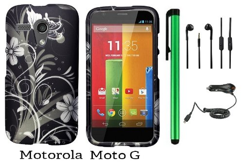 Motorola Moto G (Verizon, Boostmobile) Premium Pretty Design Protector Hard Case Cover + Car Charger + 3.5Mm Stereo Earphones + 1 Of New Metal Stylus Touch Screen Pen (Black Silver Butterfly Flower)