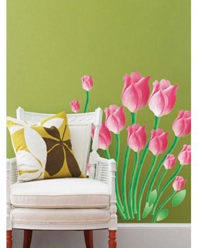 Ambiance Live Vinilo Adhesivo Tulipanes De Color Rosa Multicolor