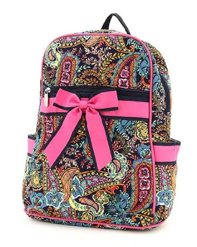 Belvah Quilted Multi Paisley Large Backpack (Navy/Fuchsia)