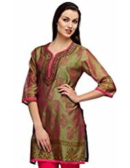 Fuchsia Designs Women's Cotton Silk Self Print Straight Kurta