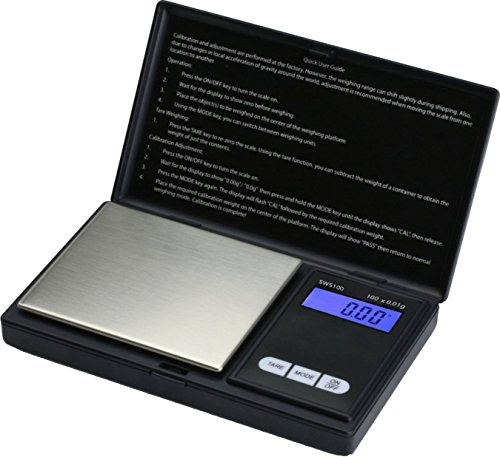 SMART WEIGHT - SWS100 - Balanza de Bolsillo Digital, de 100 x 0.01g - Color Negro