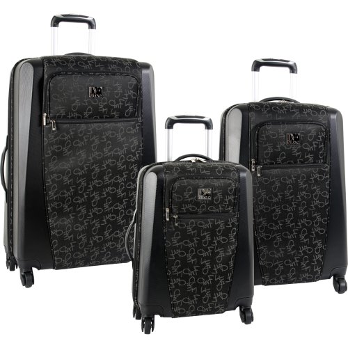 Diane Von Furstenberg Luggage Signature Hybrid 3 Piece Set, Black, One Size best buy