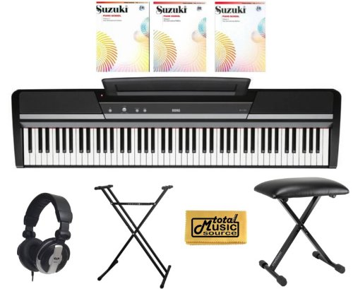 Korg Sp170S 88 Key Digital Piano Black,Korg Sp170Sbk - 88 Key Digital Piano Package Includes: - Korg Sp170S Black Piano - Piano Stand - Piano Bench - Pro Headphones - Suzuki Piano School Vol. 1, 2, 3 With Cd - Tms Polishing Cloth