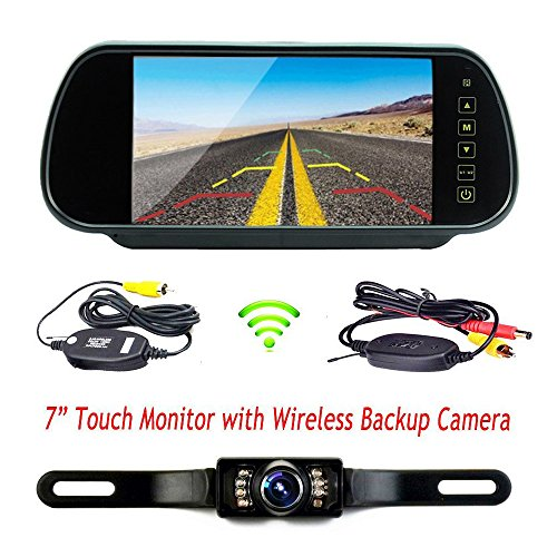 podofo wireless car backup camera with 7 lcd rear view mirror monitor kit remote control. Black Bedroom Furniture Sets. Home Design Ideas