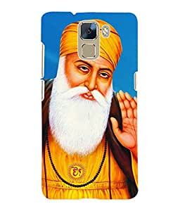 Fuson 3D Printed Lord Guru Nanak Designer Back Case Cover for Huawei Honor 7 - D529