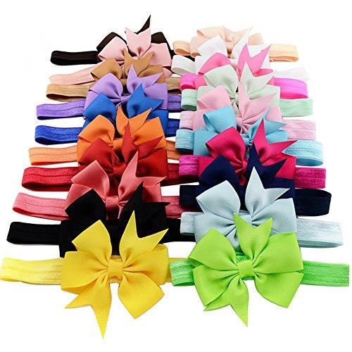 iEFiEL Baby Girls Hairband Head Wear Grosgrain Ribbon Hair Bows Accessories (20 Pack)