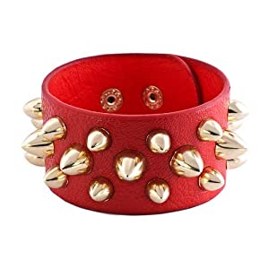 Pugster Stainless Steel Studded Light Red Leather Cuff Bracelet
