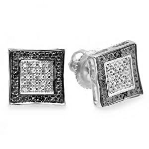 0.10 Carat (ctw) Sterling Silver Black & White Round Diamond Micro Pave Setting Kite Shape Stud Earrings