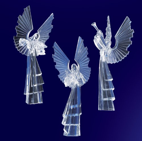Pack of 6 Icy Crystal Religious Instrument Playing Angel Figurines 16.75