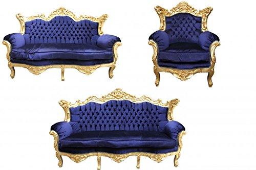 Casa Padrino Barock Wohnzimmer Set Royal Blau /Gold – 3er Sofa+2er Sofa + 1 Sessel