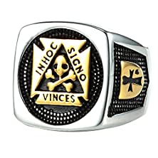 buy Mens Masonic Jewelry Ring Mason Master Skull Cross Freemason Vintage Gold Plated