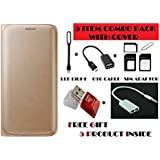 Gionee M5 Lite Flip Cover Case With Free Led, Otg Cable, Card Reader, Sim Adapter And Earphone Splitter By Vinnx...