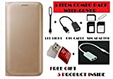#9: Gionee M5 Lite Flip Cover Case With Free Led, Otg Cable, Card Reader, Sim Adapter and Earphone Splitter By Vinnx - Golden