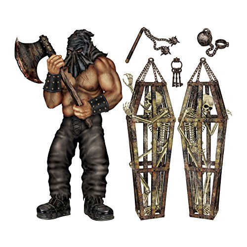 Executioner Skeleton Dungeon Wall Haunted House Halloween Prop Decor Party Creepy Ornaments (Face Painting For Skeleton Costume)