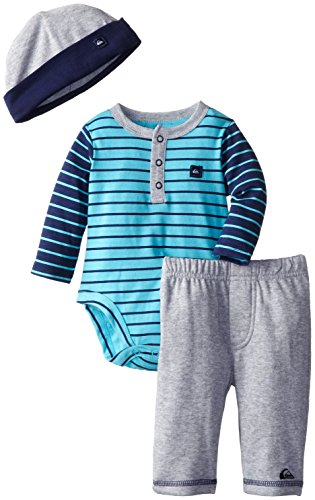 Quiksilver Babys Newborn Blue Bodysuit With Pull On Pant And Hat, Blue, 6-9 Months front-258526