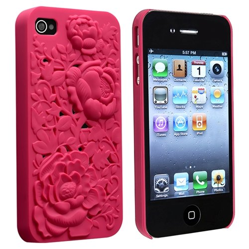 eForCity Snap-on Case Compatible with Apple? iPhone? 4 / 4S, Hot Pink 3D Rose Sculpture