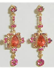 Orange And Magenta Stone Studded Dangle Earrings - Stone And Metal - B00K4F69ZQ