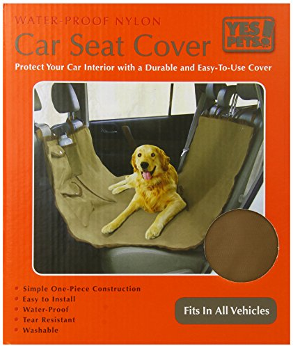 Yes Pets Oxford Waterproof, Tear Proof Hammock Style Car Seat Cover, 58-Inch By 51-Inch, Tan