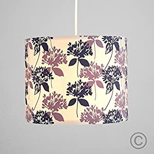 Modern Decorative Cream, Lilac, And Grey Floral Lily Flower Pattern Polycotton Rolla Cylinder Ceiling Pendant Drum Light Shade by MiniSun