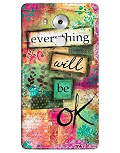 Omnam Beautiful Everything Will Be Ok Written Printed Back Cover Case For Huawei Honor Mate 8