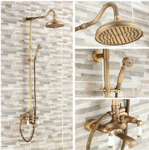 Antique Brass 8 Inch Rain Shower Faucet Set Wall Mount Mixer Tap With Hand Shower front-547819