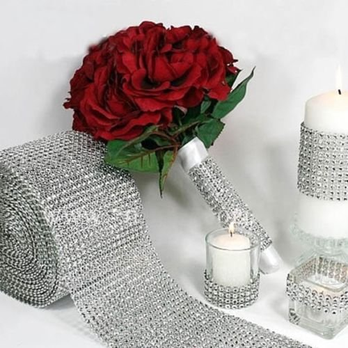 DatConShop(TM) Silver DIAMOND MESH WRAP ROLL TWINKLE RHINESTONE Crystal Ribbon Wedding Favor