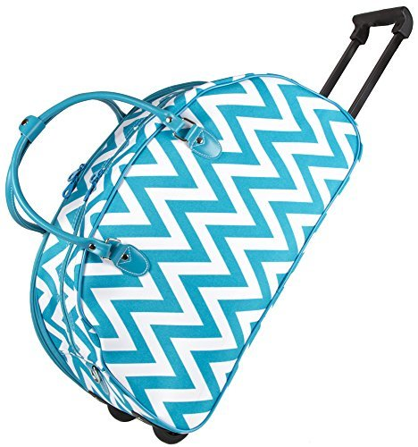 Ever Moda Teal Chevron Rolling Wheeled Duffle Bag