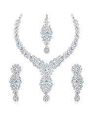 Sukkhi Splendid Rhodium Plated Australian Diamond Stone Studded Necklace Set