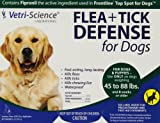 Vetri-Science Laboratories Flea and Tick Defense for Dogs and Puppies, 45 to 88-Pound, 6 Doses