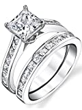 Sterling Silver Princess Cut Bridal Set Engagement Wedding Ring Bands With Cubic Zirconia