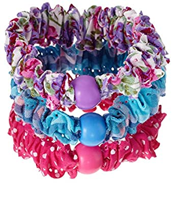Monsoon Filles 3élastiques à perles imprimés Taille Taille unique Multicolore
