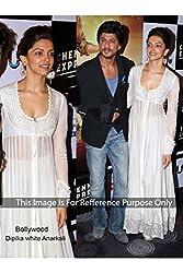 Designer White GEORGETTE Bollywood Replica Dress.