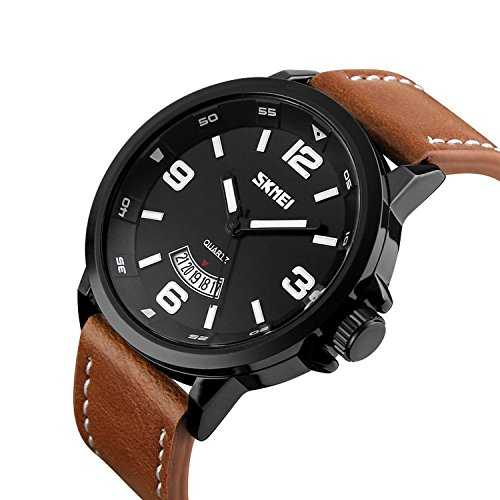 Laniakea Men's Classic Casual Round Dial Quartz Analog Wrist Watch with Brown Leather Band (Round Dial Analog Watch compare prices)